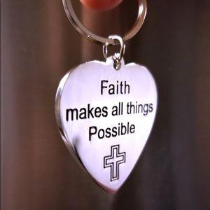 Key Chain New Stainless Steal Cross Faith Tone